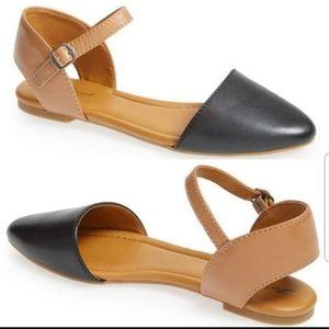 Lucky Brand Abbee Black Tan Leather Flats